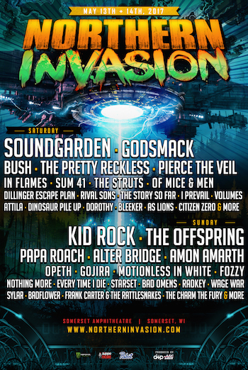 Northern Invasion flyer with band lineup and venue details