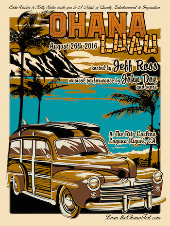 Ohana Luau flyer with performer and venue details