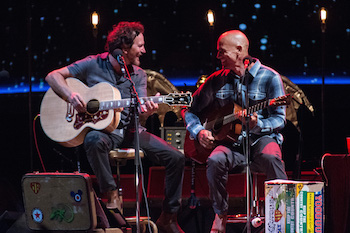 Eddie Vedder performing with Kelly Slater at Ohana