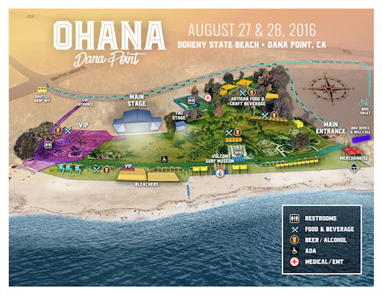Map of the Ohana festival grounds at Doheny State Beach
