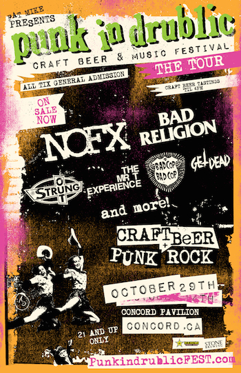 Fat Mike Presents Punk In Drublic Craft Beer & Music Festival flyer for October 29 in Concord, CA with band lineup and venue details