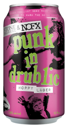 Stone & NOFX Punk in Drublic Hoppy Lager can. Pink can with artwork based on NOFX 'Punk In Drublic' album cover.