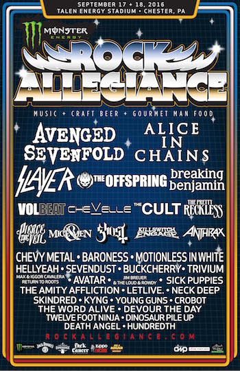 Monster Energy Rock Allegiance flyer with band lineup and venue details
