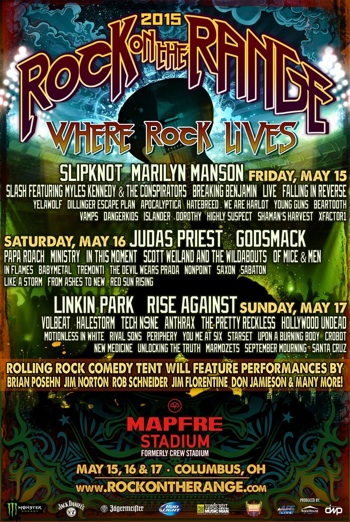 Rock On The Range 2015 flyer with band lineup and venue information