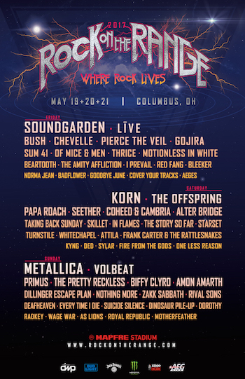 Rock On The Range 2017 flyer with daily band lineups and venue details