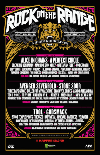 Rock On The Range flyer with daily music and comedy lineups