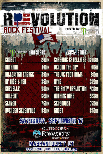 Revolution Rock Festival flyer with band performance schedule and venue details