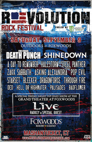 Revolution Rock Festival flyer with band lineup and venue details