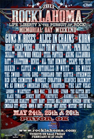 2013 Rocklahoma flyer with complete band lineup