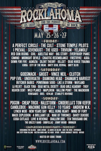 Rocklahoma 2018 flyer with daily band lineup