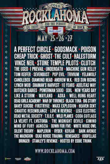 Rocklahoma 2018 flyer with band lineup and venue details