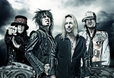 Motley Crue, from left to right: Mick Mars, Nikki Sixx, Vince Neil, Tommy Lee