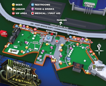 Monster Energy's Welcome To Rockville Festival festival map