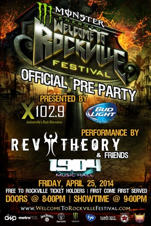 Monster Energy's Welcome To Rockville Festival Official Pre-Party flyer