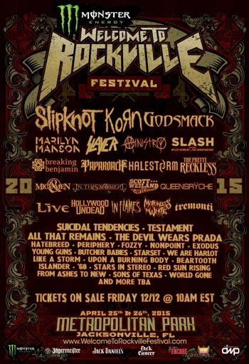 Monster Energy Welcome To Rockville flyer with band lineup and venue information