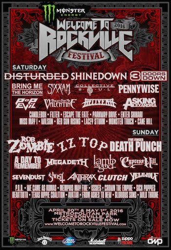 Monster Energy Welcome To Rockville 2016 flyer with band lineup and venue details