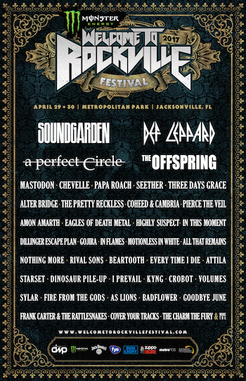 Monster Energy Welcome To Rockville flyer with band lineup