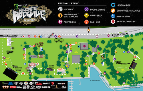 Map of the Monster Energy Welcome To Rockville festival site