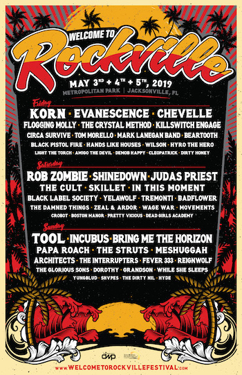 Welcome To Rockville flyer with daily music lineup & show details
