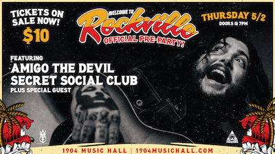 Welcome To Rockville pre-party flyer with show details and photo of Amigo The Devil