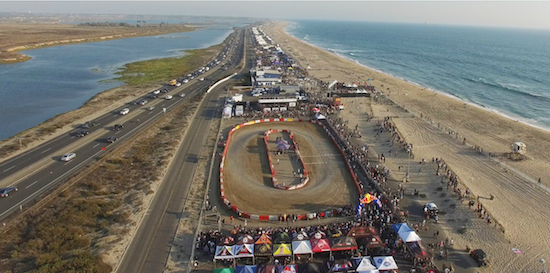 Aerial photo of the 2017 Moto Beach Classic at Bolsa Chica State Beach