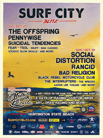 Surf City Blitz flyer with band lineup and show details