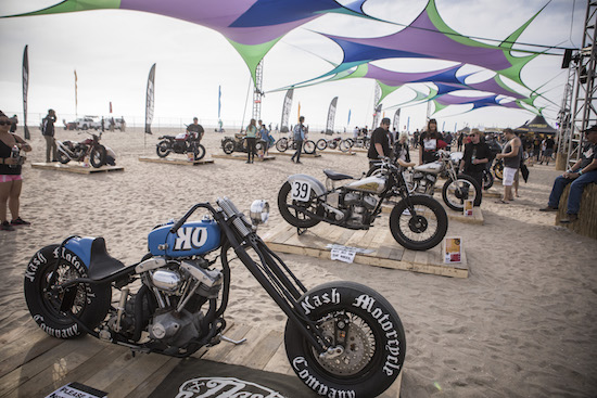 Moto Beach Classic bikes on display at Surf City Blitz