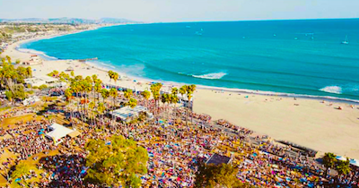 Aerial shot of Sabroso festival site at Doheny State Beach in Dana Point, CA