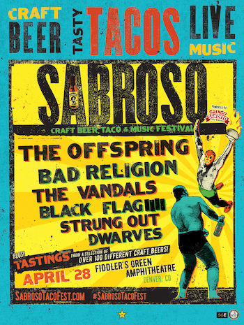 Sabroso Craft Beer, Taco & Music Festival Denver flyer with band lineup & show details