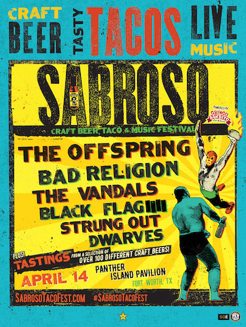 Sabroso Craft Beer, Taco & Music Festival Fort Worth flyer with band lineup & show details