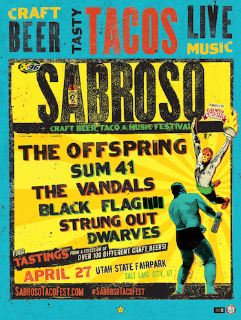 Sabroso Craft Beer, Taco & Music Festival Salt Lake City flyer with band lineup & show details