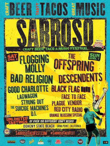 Sabroso Craft Beer, Taco & Music Festival flyer with band lineup and show details