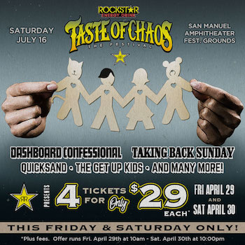 Rockstar Energy Drink Taste Of Chaos The Ultimate Double Date ticket 4-pack flyer