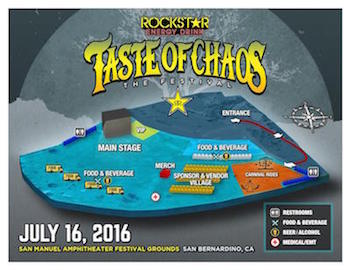 Rockstar Energy Drink Taste Of Chaos Festival map
