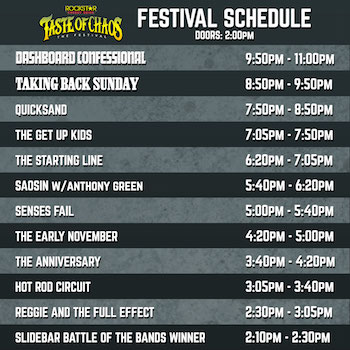 Rockstar Energy Drink Taste Of Chaos Festival band performance times