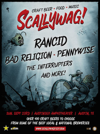 Scallywag! Austin flyer with band lineup and show details