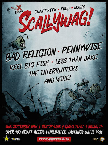 Scallywag! Boise flyer with band lineup and show details