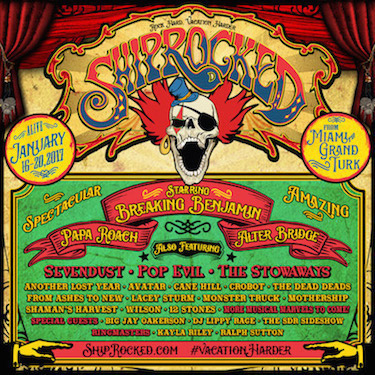 Carnival-themed ShipRocked 2017 flyer with band lineup and cruise itinerary