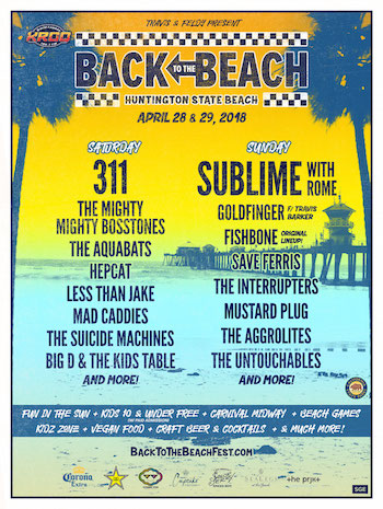 KROQ, Travis & Feldy Present Back To The Beach flyer with band lineup and venue details