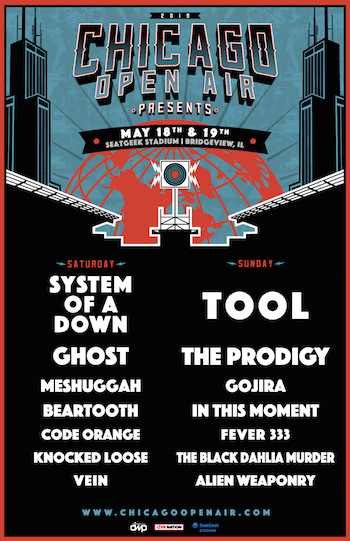 Chicago Open Air Presents flyer with band lineup