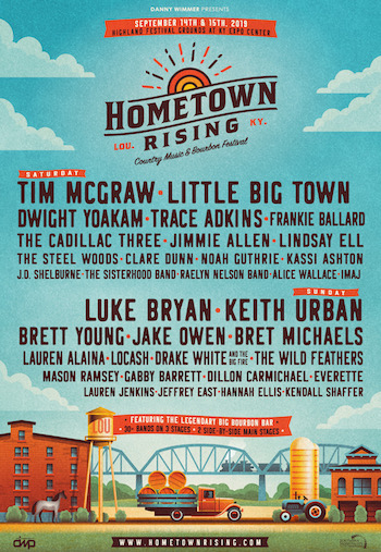 Hometown Rising flyer with daily music lineup & festival details