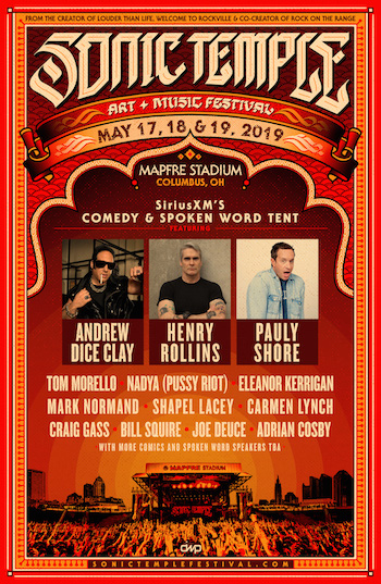 Sonic Temple Art + Music Festival flyer with comedy & spoken word lineup